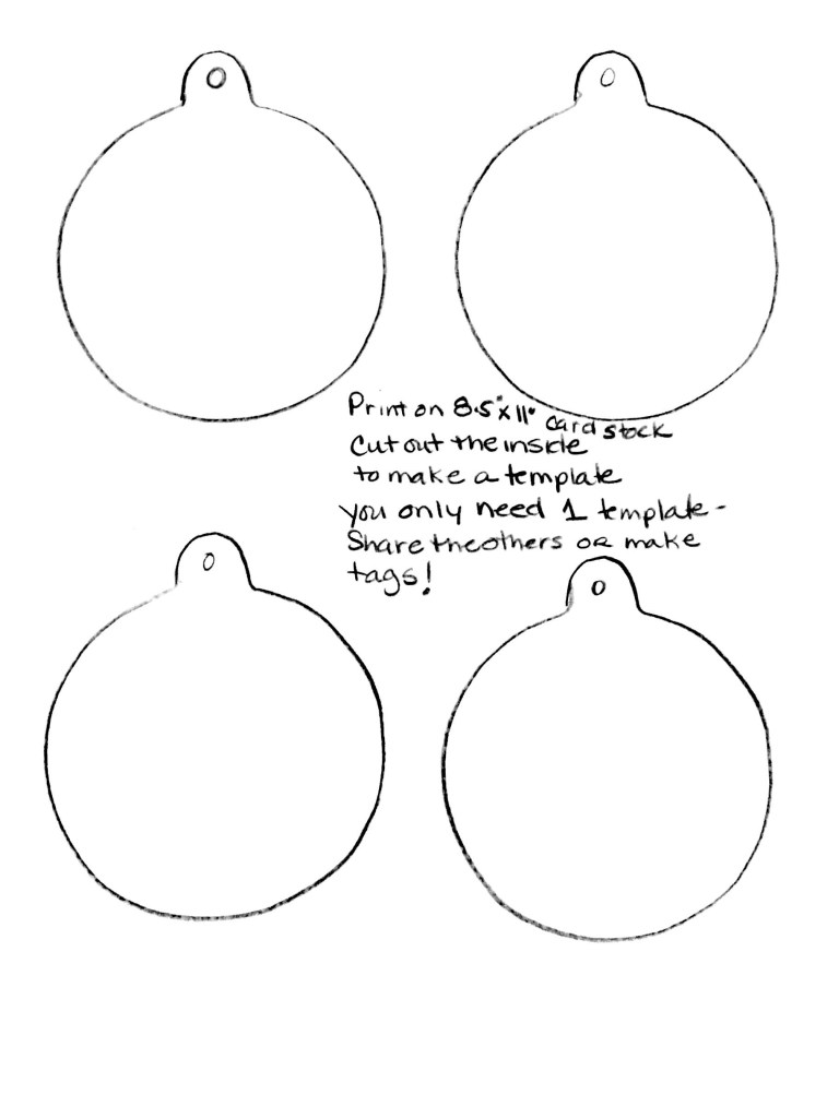 plain ball ornament template or coloring sheet