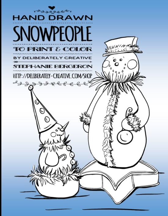 Snow people coloring book cover