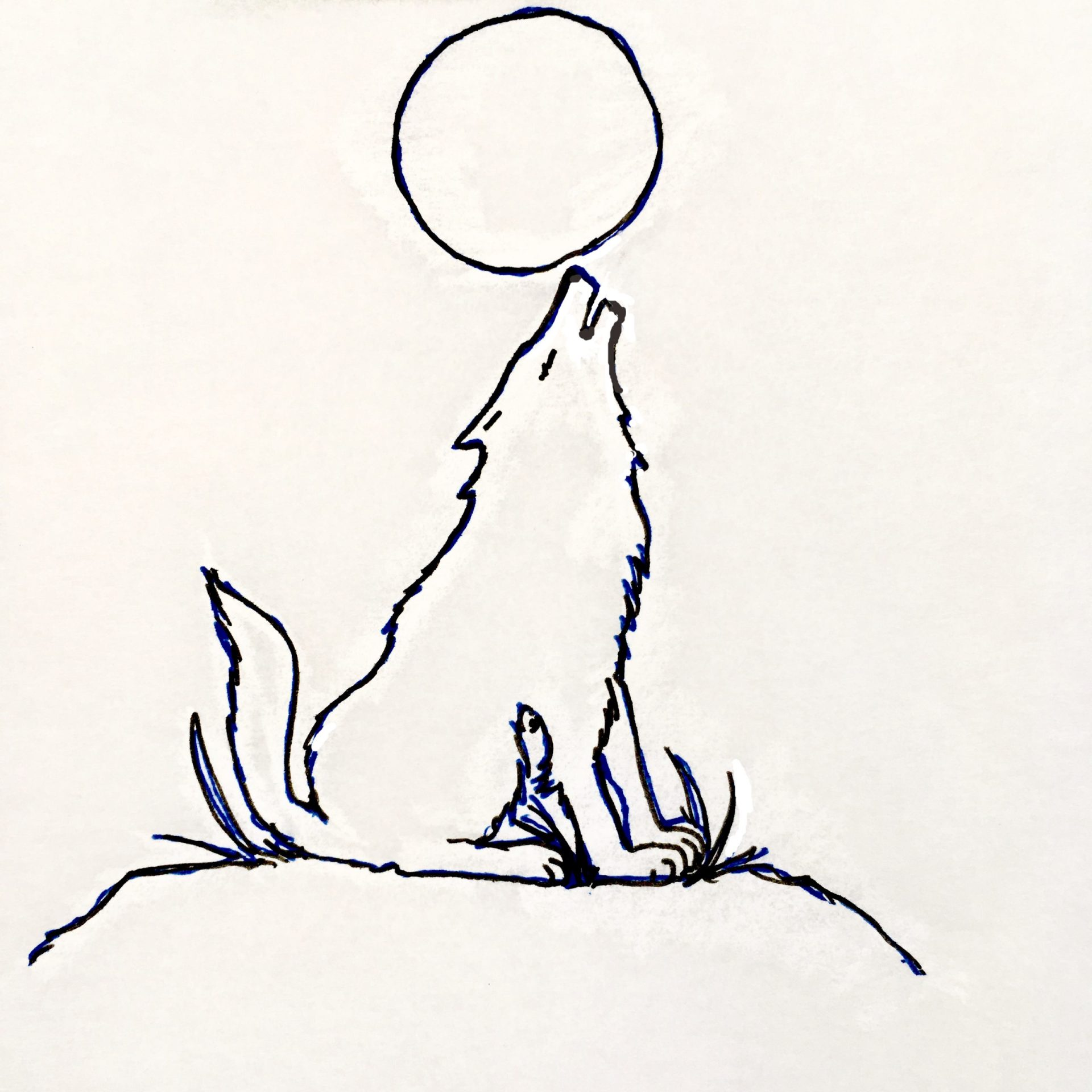 howling Wolf with full moon