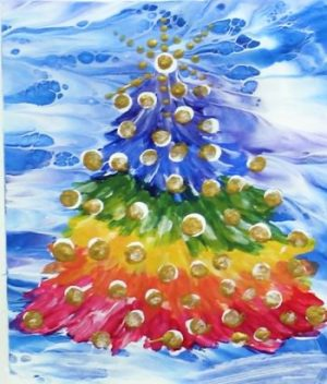 Rainbow colored Tree on a blue and white abstract background