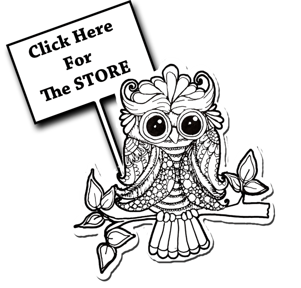 owl holding sign to the store