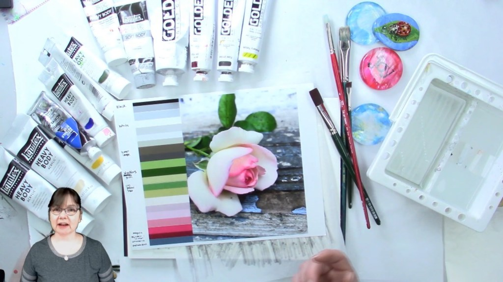 Pink rose and Paint tubes