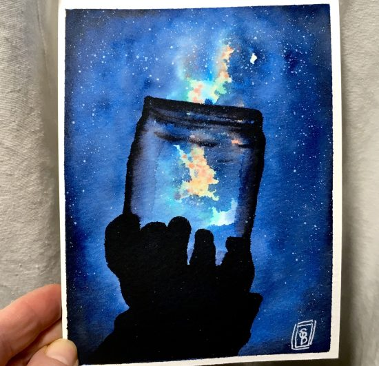 Night Sky -Hand holding up a jar