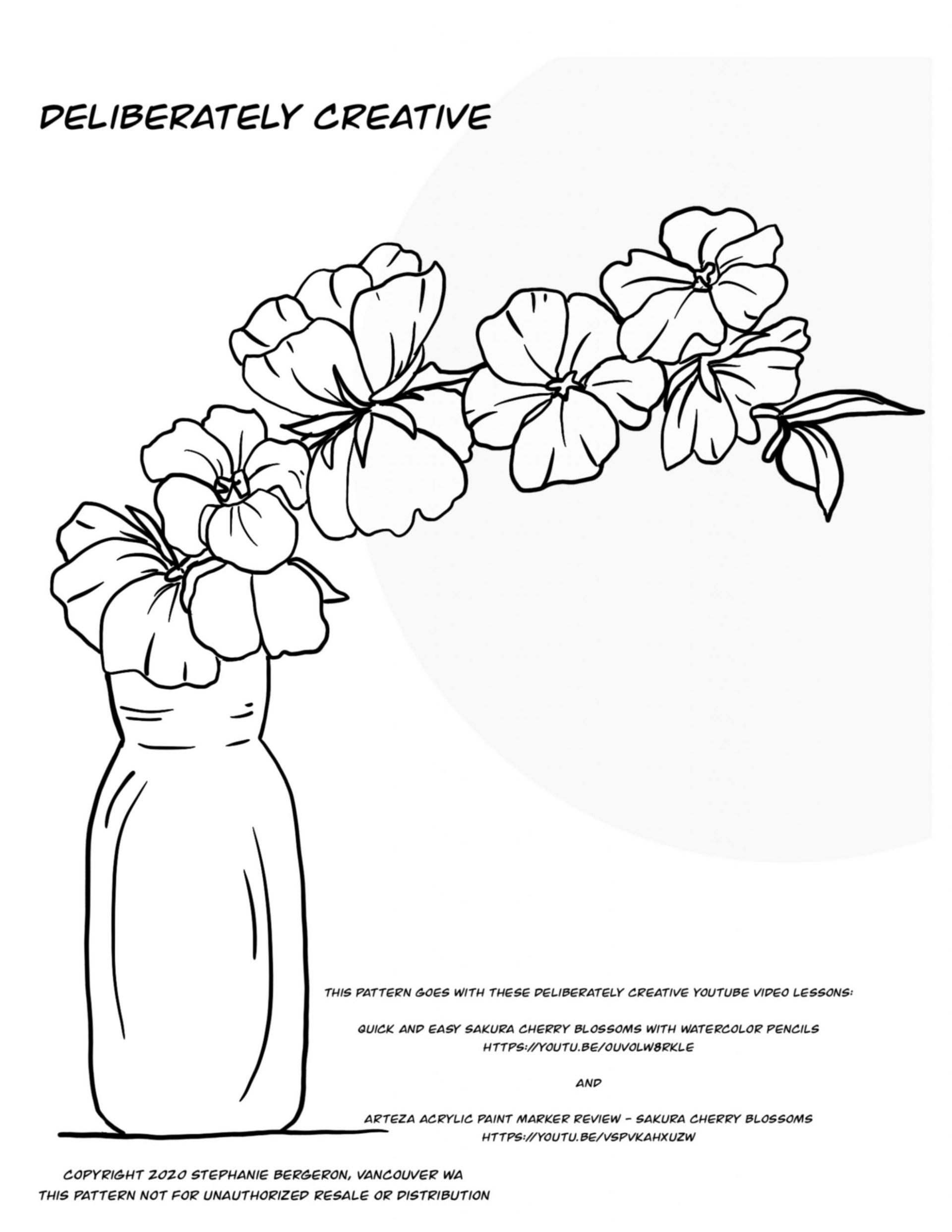 Black line art cherry blossom bran in vase