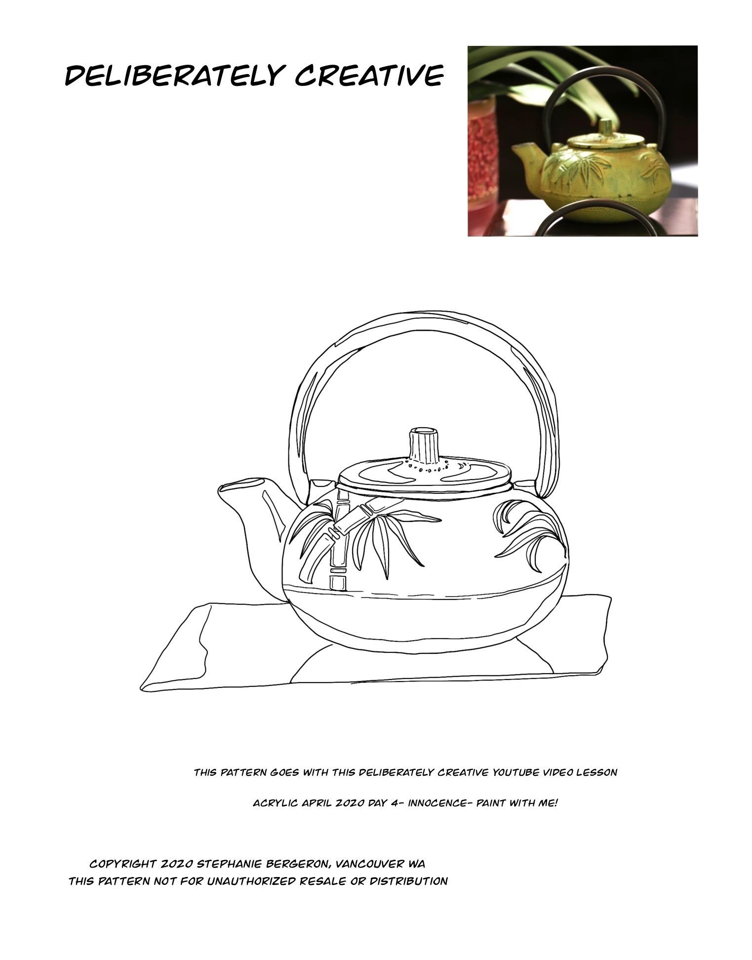 line rt bamboo art tea pot