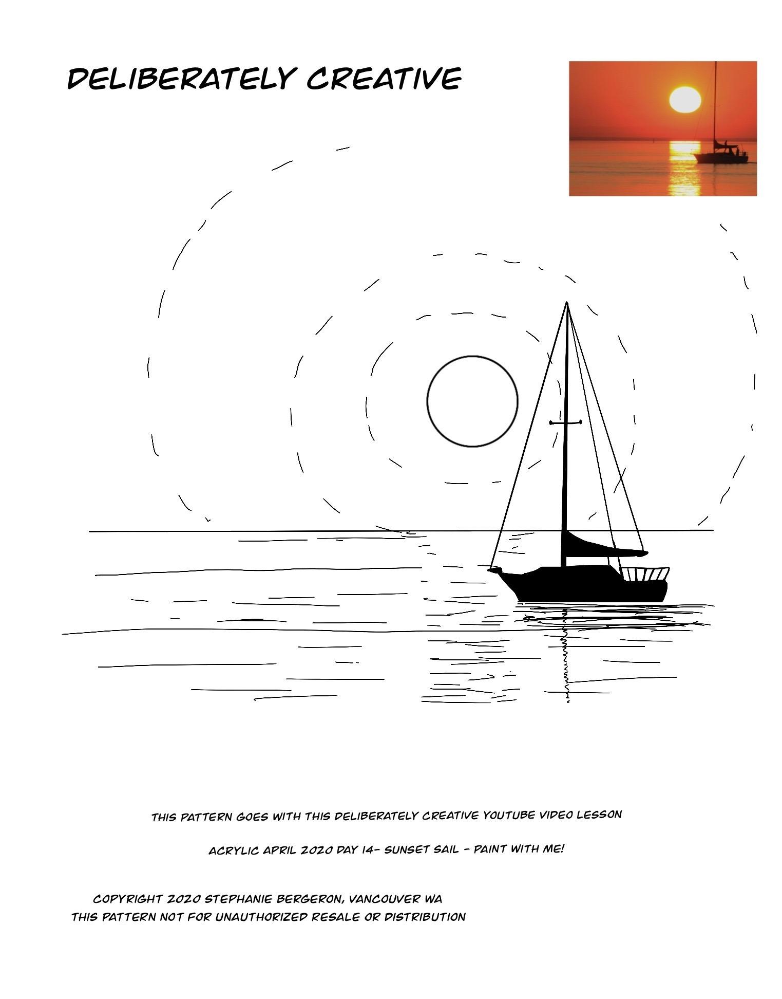 line art boat on water
