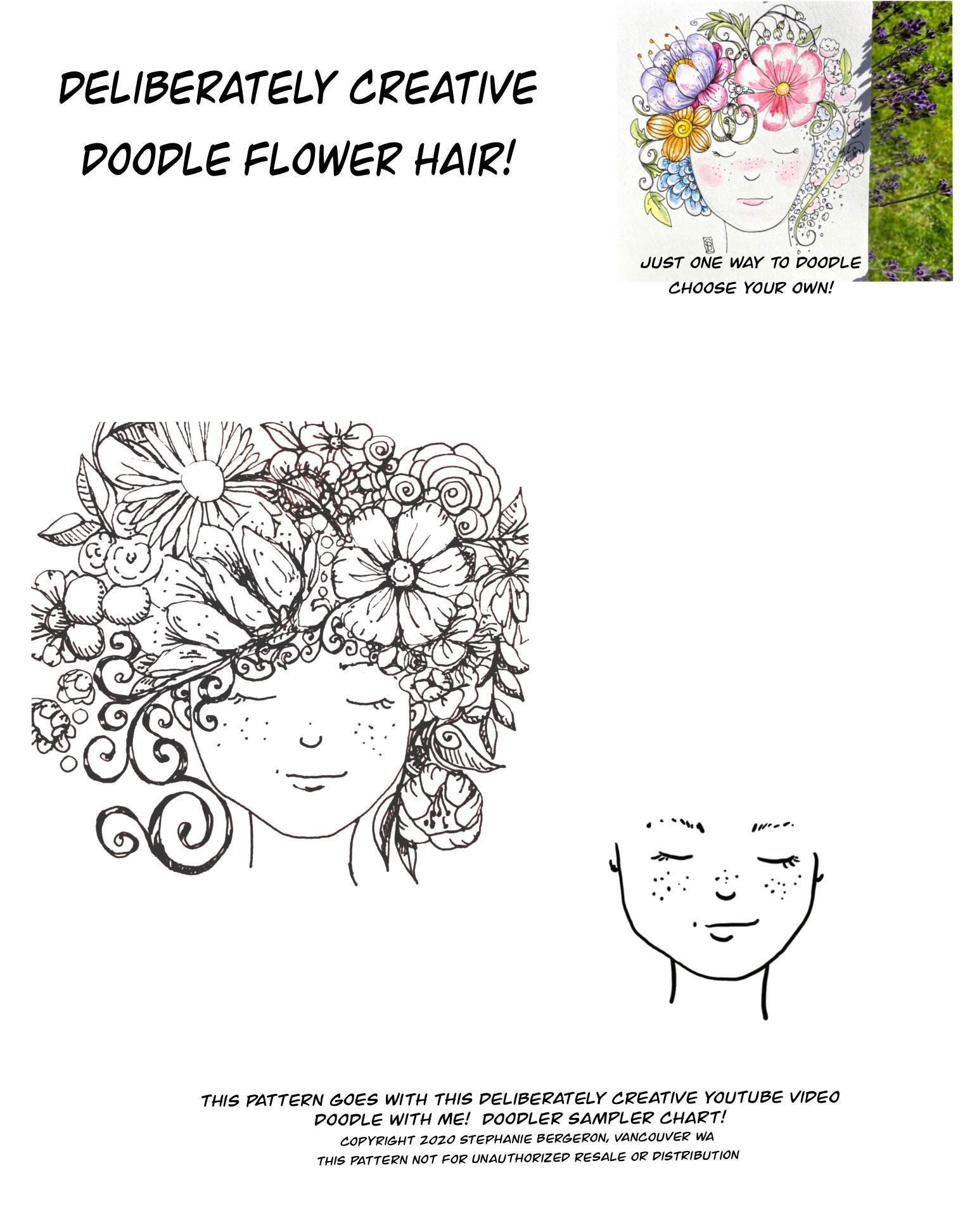 line art doodle girl with flowers for hair coloring sheet