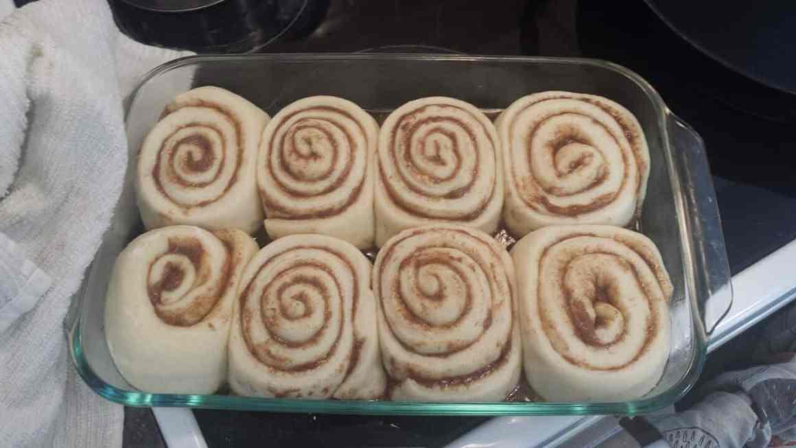 Cinnamon Buns rising in baking dish.