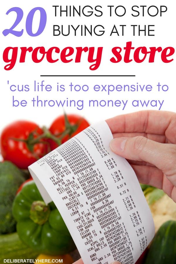 Life is too short to waste money - here are 20 things to take off your grocery list to save money on food. Cut your grocery budget this month and save money. I LOVE finding ways to cut costs and save money wherever I can - especially on groceries! With food being so highly priced it's so awesome to find new ways to save money on groceries!