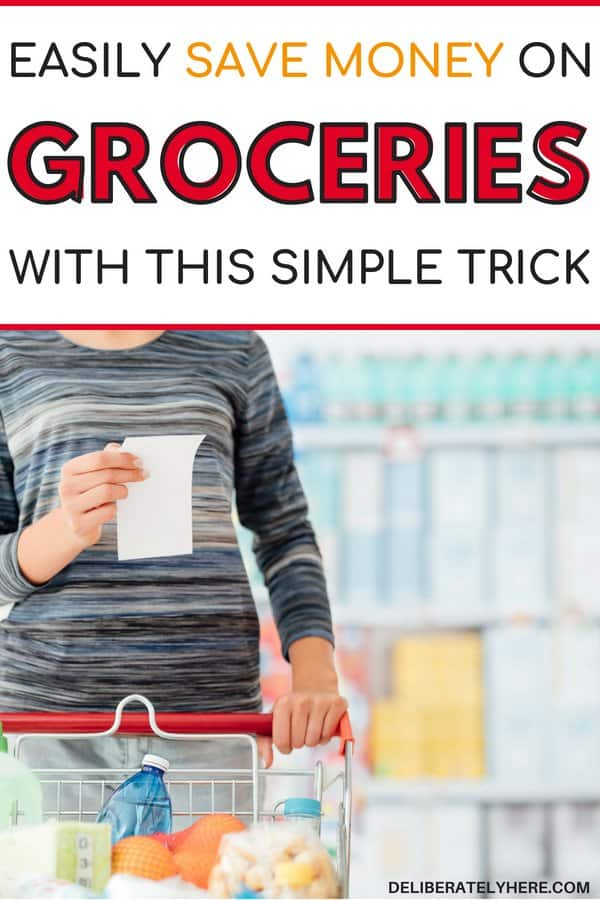 Easily save money on groceries with this simple trick. Stop wasting money on food. Save money every month and stay in your food budget. Things to take off your grocery list to save money. Don't waste money on food - buy less and save money. How to save money on groceries while still having plenty to eat.