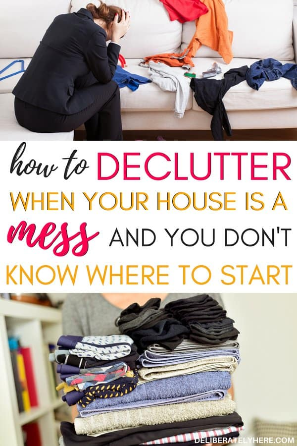 how to declutter when your house is a mess and you don't know where to start. How to declutter your house in one week. Kick the clutter from your life with these 5 easy decluttering steps.