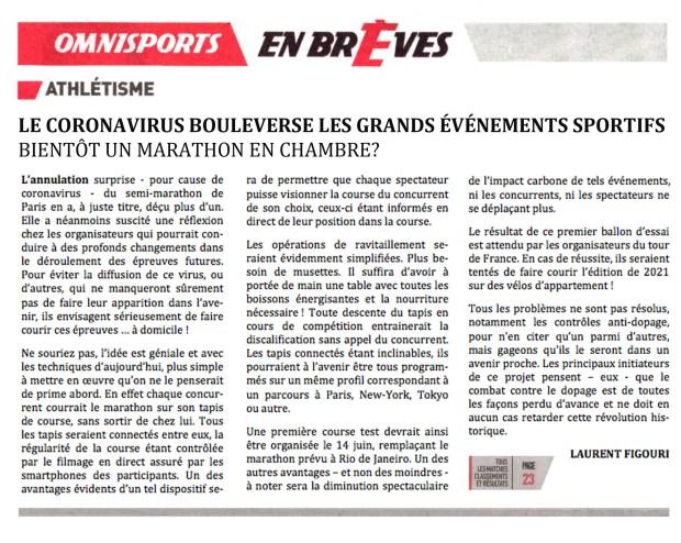 Sports: le coronavirus bouleverse lesgrands événements sportifs © Philippe Mignon