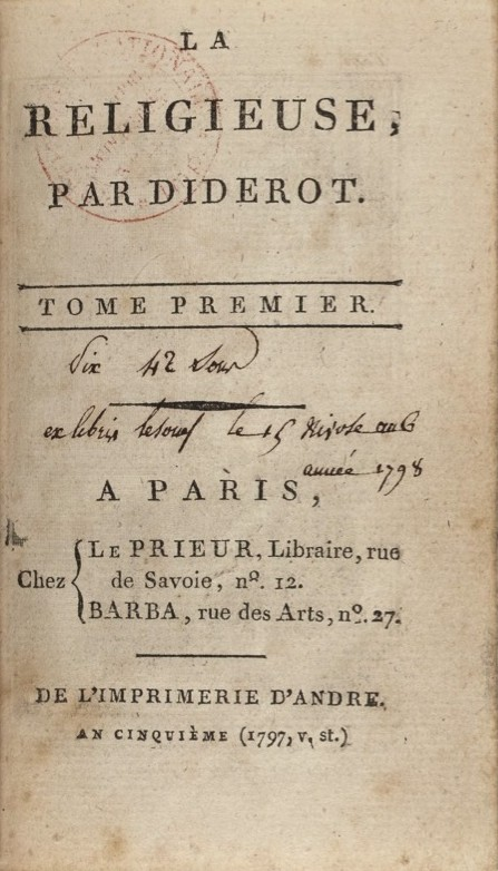 Diderot: La Religieuse, Imprimerie d'André, Paris, 1797