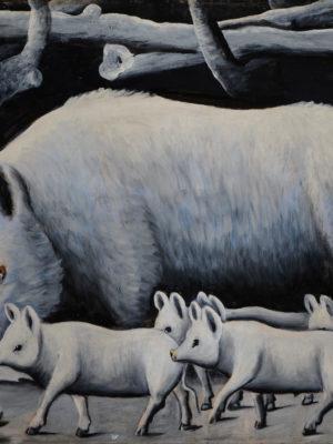 Niko Pirosmani, Truie blanche avec porcelet. Musée national de Géorgie, Musée des beaux-arts Shalva Amiranashvili, Tbiliss