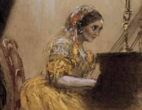 Adolph Friedrich Erdmann von Menzel - Clara Schumann et Joseph Joachim en concert (détail)