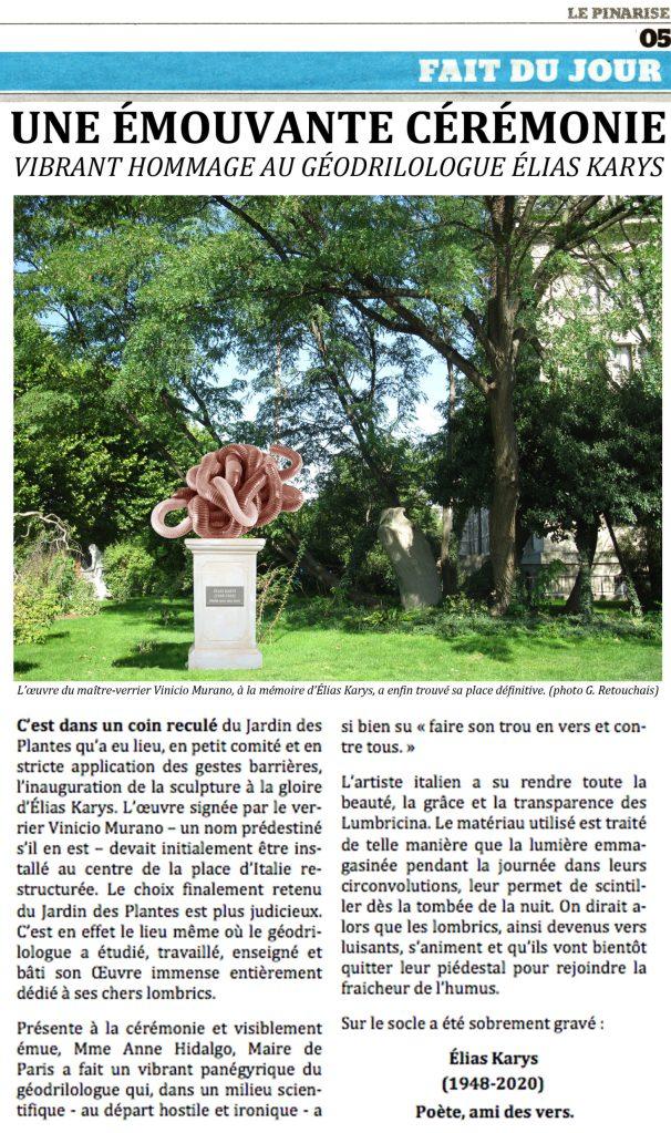 hommage au géodrilologue Elias Karys
