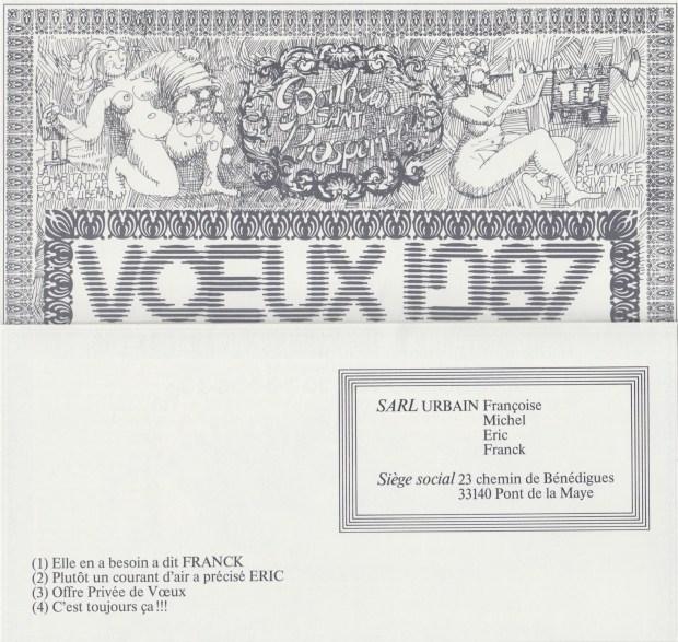 Les vœux des Z´Urbains - 1985 ©Famille Urbain