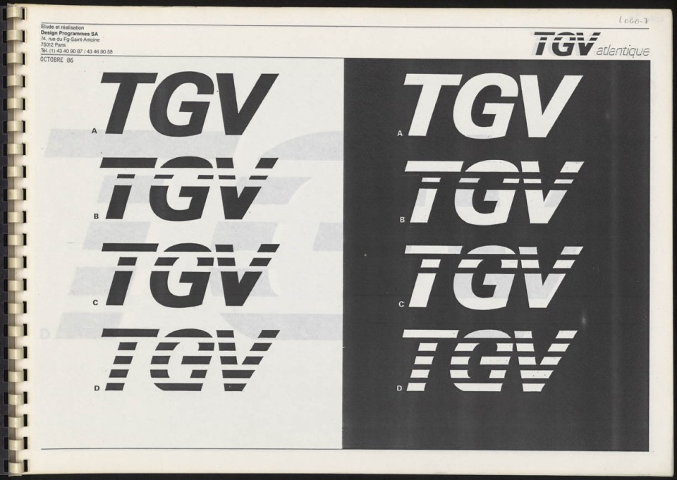 Roger Tallon, Logos positif et négatif du TGV Atlantique (projet non retenu) Design Programmes Sa, 1986 © Les arts Décoratifs, Paris / A.D.A.G.P. 2016