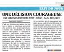 Une décision courageuse