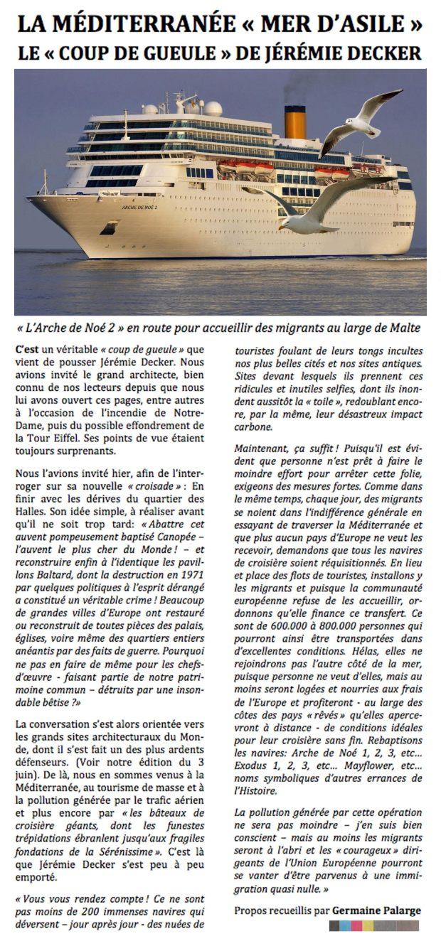 Arche de Noé - La Méditerranée mer d'asile