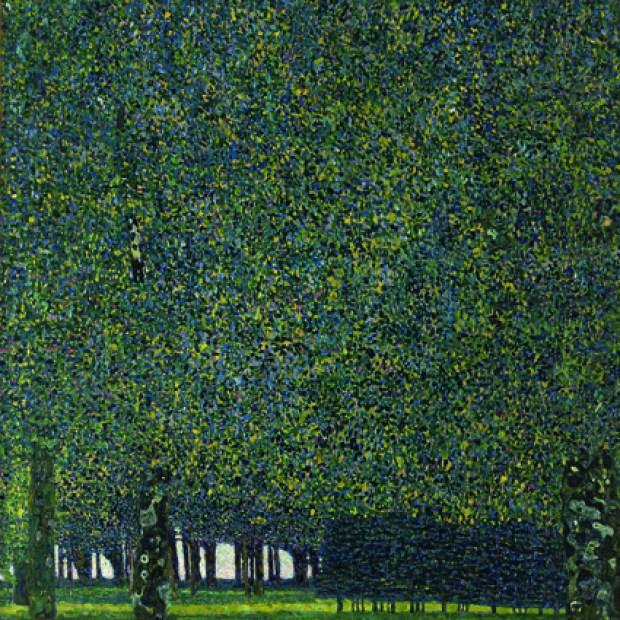 """Gustave Klimt, """"Le Parc"""" (1910 ou avant), huile sur toile 110,4 x 110,4 cm, New York The Museum of Modern Art, Gertrud A. Mellon Fund, 1957"""