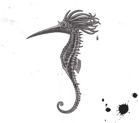 L'hippocampe resplendissant vu par Pierre Cornuel, sur un dessin original de Philippe Mignon