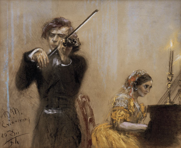 Clara Schumann et Joseph Joachim en concert, pastel d'Adolph von Menzel, 1854