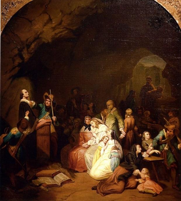 """""""L'assemblée surprise"""", toile de Karl Girardet (1842) © Musée du Désert, Mialet. """"Sur les traces des Camisards"""", une chronique de Thomas Gayrard dans délibéré"""