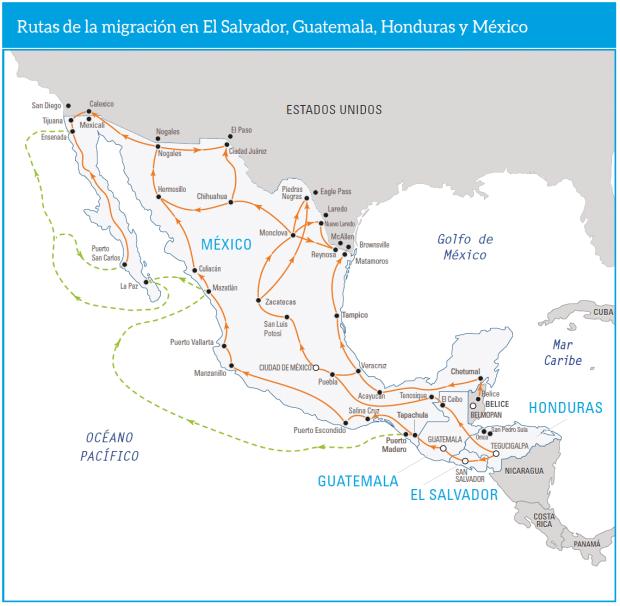 """Les routes de migration vers les États-Unis, carte issue du dossier """"Child Alert"""" (2018) de l'UNICEF"""