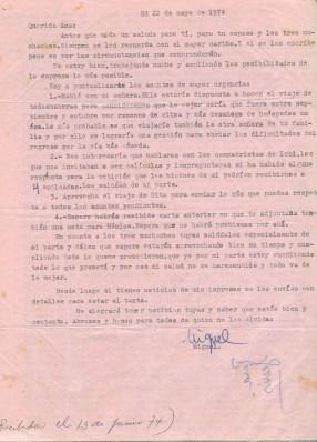 Lettre de Roque Dalton à Aída Cañas du 22 mai 1974 ©Archives de la famille Dalton - Carta de Roque a Aída del 22 de mayo de 1974 ©Archivo Familia Dalton