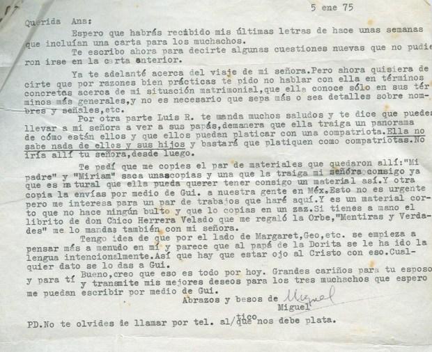 Lettre de Roque Dalton a Aída Cañas, 5 janvier 1975 © Archives de la famille Dalton
