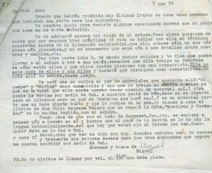 Lettre de Roque Dalton à Aída Cañas, 5 janvier 1975 ©Archives de la famille Dalton