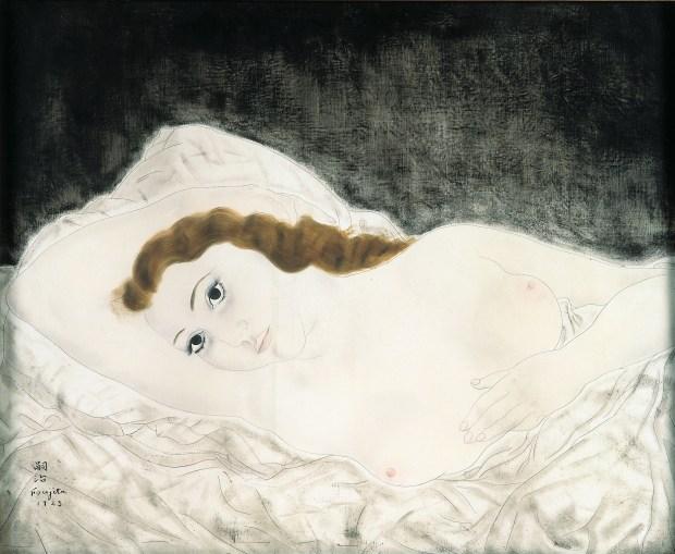 """Femme allongée, expo """"Foujita, peindre dans les Années folles"""", jusqu'au 15 juillet 1018 au Musée Maillol, 61 rue de Grenelle, 75007 Paris"""