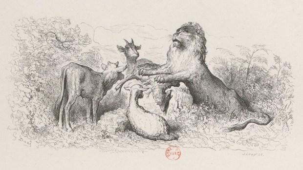"""Gustave Doré - La Génisse, la chèvre et la brebis en société avec le lion - """"Zoologie"""", une chronique de l'année 2017 par Edouard Launet dans délibéré"""