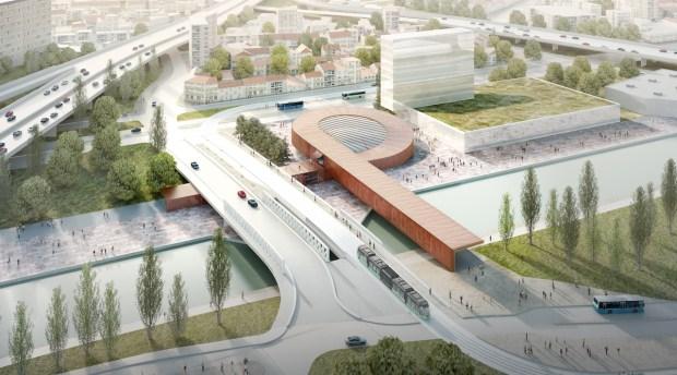 Gare Pont de Bondy, agence Big et Silvio d'Ascia