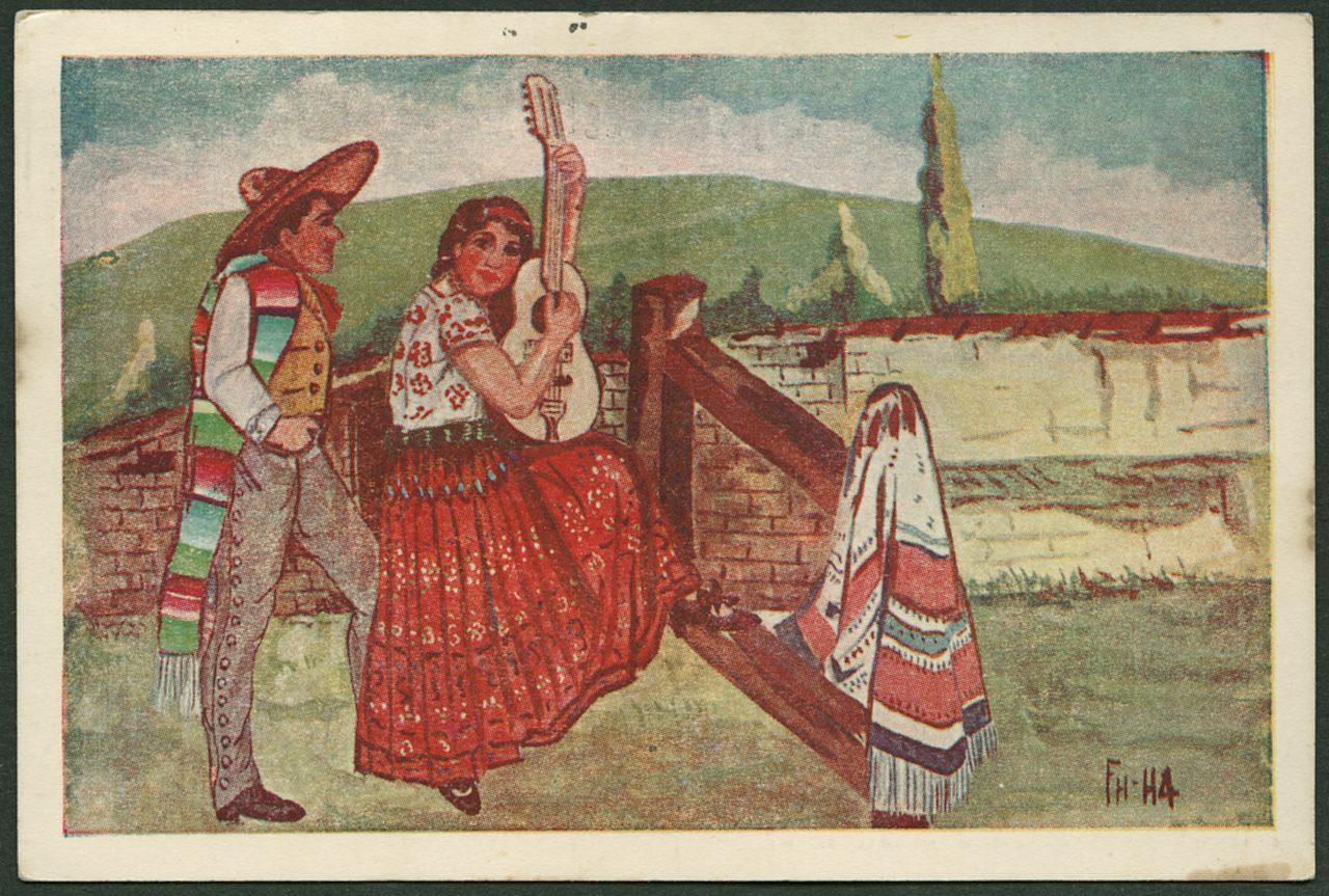 Deuxième carte au dos de laquelle Marguerite Rosmer écrit à Daniel Martinet, le 18 août 1939. Vue de Taxco, Mexique