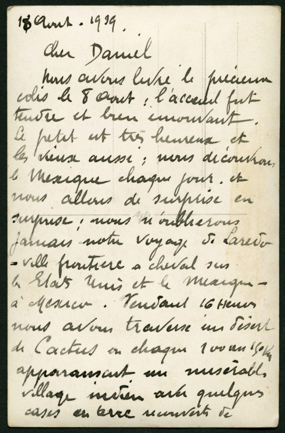 Première partie de la lettre adressée par Marguerite Rosmer à Daniel Martinet, le 18 août 1939