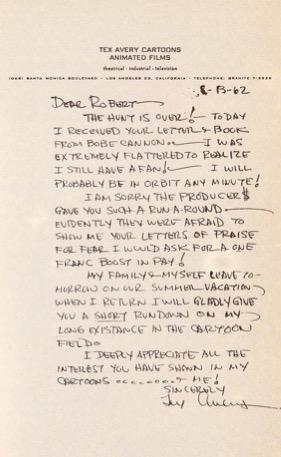 Lettre de Tex Avery à Robert Benayoun