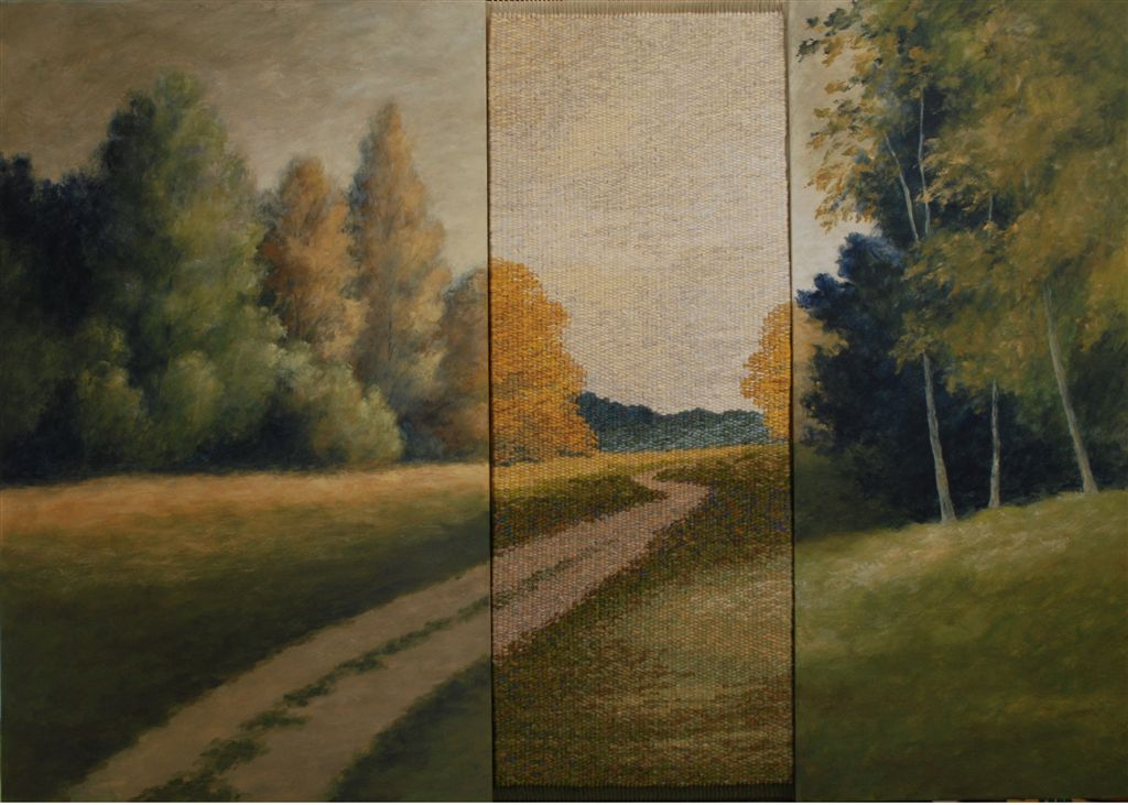 Mireille Veauvy, tapisserie et peinture, 71x100cm