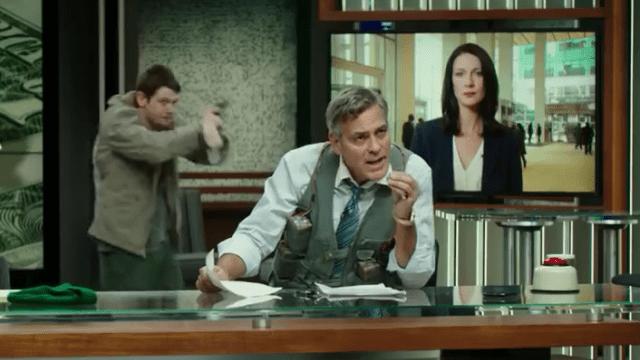 """Lee Gates/George Clooney, pris en otage dans le jeu du direct, entre victimes et coupables. Une critique du film """"Money Monster"""" par Thomas Gayrard dans Délibéré"""
