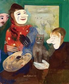 Felix Nussbaum, Peintre avec masques et chat, 1935
