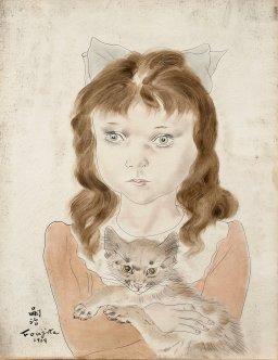 """Petite fille au chat, expo """"Foujita, peindre dans les Années folles"""", jusqu'au 15 juillet 1018 au Musée Maillol, 61 rue de Grenelle, 75007 Paris"""