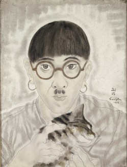 """""""Portrait de l'artiste (autoportrait au chat)"""", (1928)."""