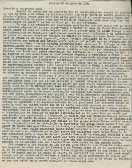 Première page de la lettre de Roque à Aída du 18 septembre 1974 ©Archives de la famille Dalton - Primera página de la carta de Roque a Aída del 18 de septiembre de 1974 ©Archivo Familia Dalton
