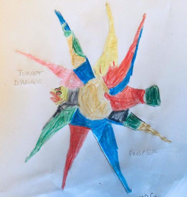 Le turbot d'Ariane colorié par Prosper, sur un dessin original de Philippe Mignon