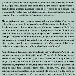 Antoine de Baecque, un marcheur à New York, chapitre 11