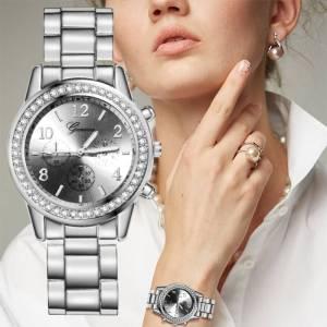Montre argent pour femme mode strass Quartz de luxe