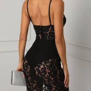 Robe de soirée Sexy noire en dentelle pour femme