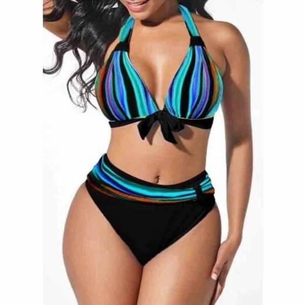 Bikini grande taille néon rayé