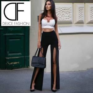 Ensemble pantalon deux pièces Sexy Chic, pantalon blanc et noir, Design à fente haute